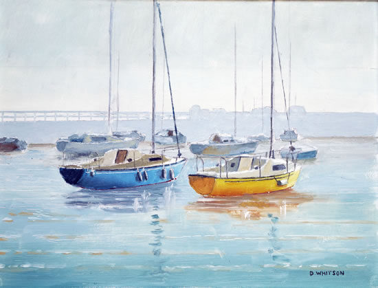 Blue and Yellow Yachts - Art Prints and Painting For Sale
